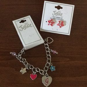 🆕 Justice charm bracelet and earrings 🌸5 for $25